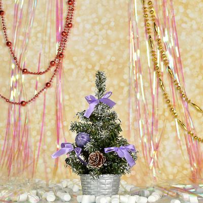 386-155 СНОУ БУМ Елка декоративная, пластик, полиэстер, 20см, 7 цветов