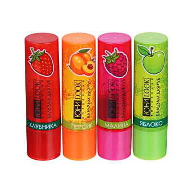 330-402 ЮниLook Бальзам для губ, 3,5г, яблоко, персик, малина, клубника