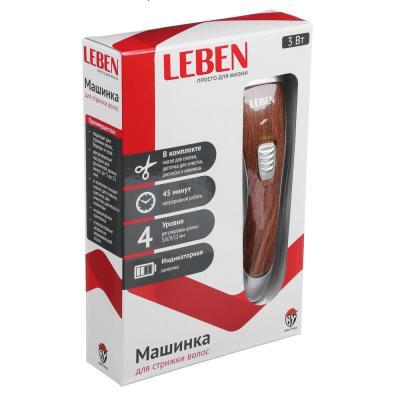 251-072 LEBEN Машинка для стрижки волос, 3 Вт, под дерево, регулируемая насадка