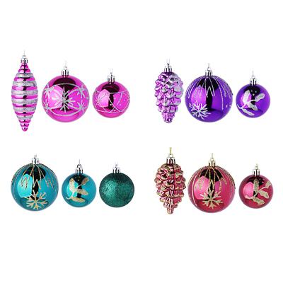 374-254 СНОУ БУМ Набор украшений 3шт, пластик, 4 цвета (лиловый, фиолетовый, марсала, морская волна)