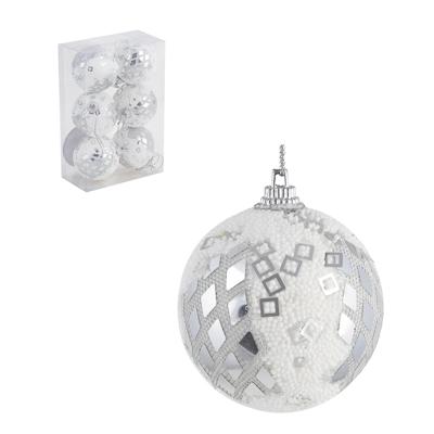 373-241 СНОУ БУМ Набор шаров 6шт, 6см, пластик, в коробке ПВХ, красный, 2 дизайна