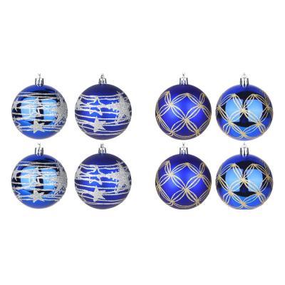 373-245 СНОУ БУМ Набор шаров 4шт, 8см, пластик, в коробке ПВХ, цвет синий