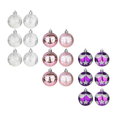 373-247 СНОУ БУМ Набор шаров 6шт, 6см, пластик, в коробке ПВХ, 3 цвета, фиолетовый, розовый, белый