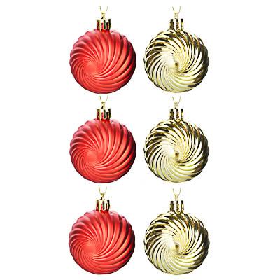 373-255 СНОУ БУМ Набор шаров 6 шт, 6 см, пластик, в коробке ПВХ, золото, красный
