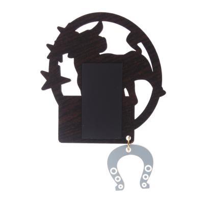 """359-754 СНОУ БУМ Магнит """"Оберег на удачу"""" с зеркал. подвеской, хдф,пластик,фольга, черный с золотом, 4 диз."""