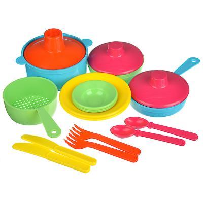 294-117 ИГРОЛЕНД Набор посуды в сетке, 6-18 пр., пластик, 25х12х10см, 5 дизайнов