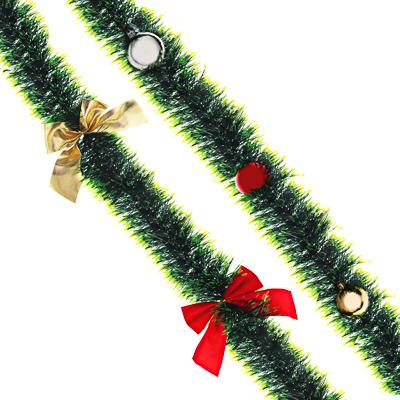 377-421 СНОУ БУМ Мишура зеленая, с декором, 200х11см, ПВХ, 2 вида