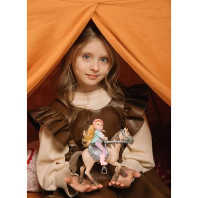 294-118 ИГРОЛЕНД Кукла шарнирная в виде наездницы с лошадкой, ПВХ, РР, 23,3x10x23,5см