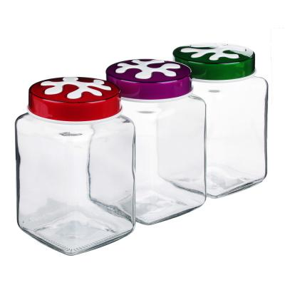 828-226 HEREVIN Пазл Банка для сыпучих продуктов, стекло, 1л, 3 цвета, 137011-804