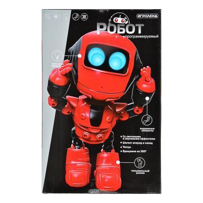 296-069 ИГРОЛЕНД Игрушка в виде робота программ. ABS, свет, звук, движ., 2АА, ЗУ/АКБ, 24х15,5х37,5 см