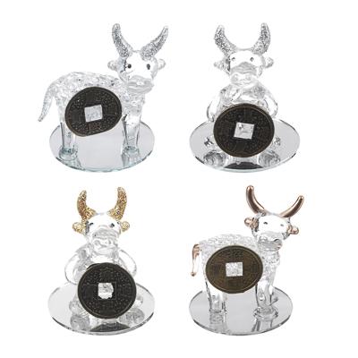 398-345 СНОУ БУМ Фигурка Символ Года 2021 с монетой, стекло, 7,8х5,6х4,5см, 4 дизайна