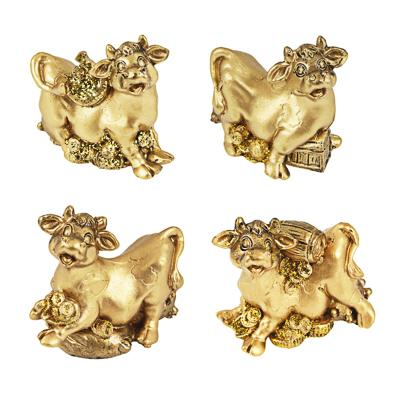 398-355 СНОУ БУМ Фигурка Символ Года 2021, полистоун, 5х4,5х2,5см, золотые, 4 дизайна