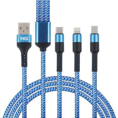 788-032 NG Кабель для зарядки телефона 3 в 1, штекер iP/microUSB/Type-C, 2м, 1.5А, пластик