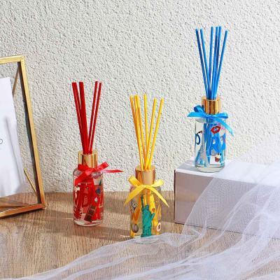 412-051 LADECOR Аромадиффузор с цветными палочками, Путешествия, 50 мл Свежесть хлопка/Гардения/Имбирный чай