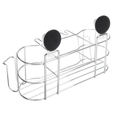 478-076 VETTA Держатель для стаканов и зубных щёток, металл, хром+белый, вакуумное крепление