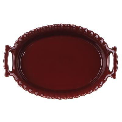 826-320 MILLIMI Форма для запекания и сервировки овальная с ручками, керамика, 31х20,5х6см, бордо