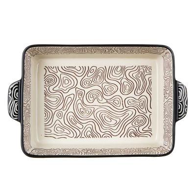 826-324 MILLIMI Форма для запекания и сервировки прямоугольная с ручками, керамика, 27,5х17,5х6см, шоколад