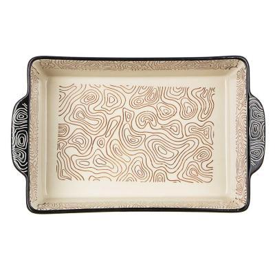 826-325 MILLIMI Форма для запекания и сервировки прямоугольная с ручками, керамика, 31х19,5х6,5см, шоколад