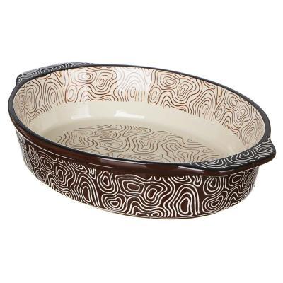 826-326 MILLIMI Форма для запекания и сервировки овальная с ручками, керамика, 31х20,5х6см, шоколад