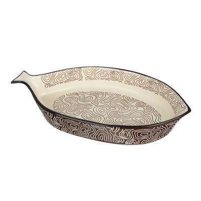 826-327 MILLIMI Форма для запекания и сервировки, рыба, керамика, 33х16,5х5см, шоколад