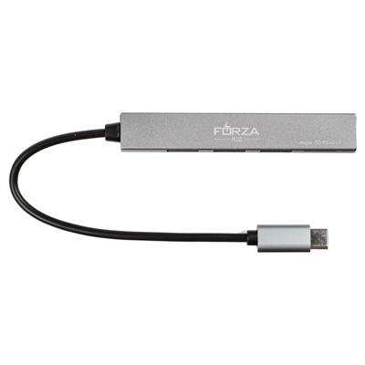 405-022 FORZA USB-хаб 4 в 1, 3xUSB 2.0, 1xMicro-SD, штекер Type-C, корпус металлик, пластик