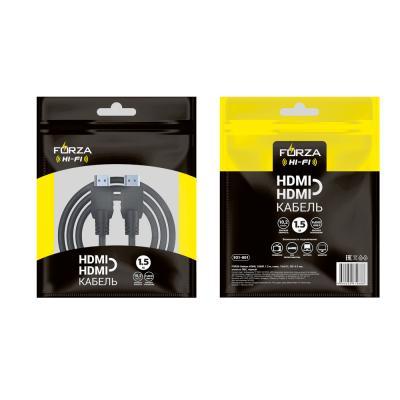 931-001 FORZA Кабель HDMI, 1080P, 1.5м, сталь, 15x012, OD=5.5мм, оплетка ПВХ, черный