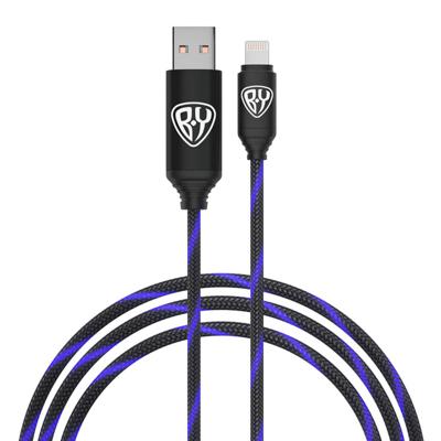 931-003 FORZA Кабель для зарядки армированный, штекер iP, быстрая зарядка, светящийся, 2.4А, пластик