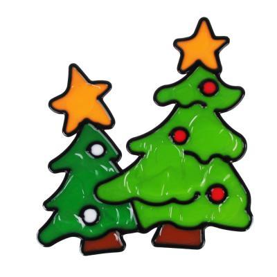 336-398 СНОУ БУМ Наклейка ПВХ  с изображением Снеговика, Деда Мороза и ёлки, 18х25см,4 дизайна