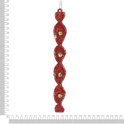 397-253 СНОУ БУМ Премиум Набор подвесок в виде спиралей 2 шт., 22см, пластик, глиттер, бордо, золото, 2 цв