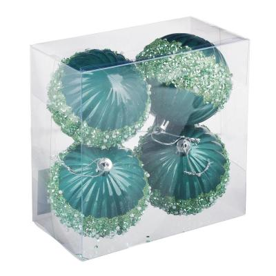 397-276 СНОУ БУМ Премиум Набор шаров с декором, 4 шт, 8см, пластик