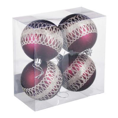 397-278 СНОУ БУМ Премиум Набор шаров с деколью, 4 шт, 8см, пластик