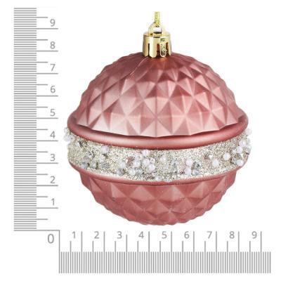 397-286 СНОУ БУМ Премиум Набор шаров с деколью, 3 шт, 8см, розовое золото, пластик