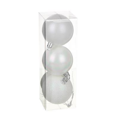 373-262 СНОУ БУМ Набор шаров с деколью, 3 шт, 6см, пластик, жемчужный перелив