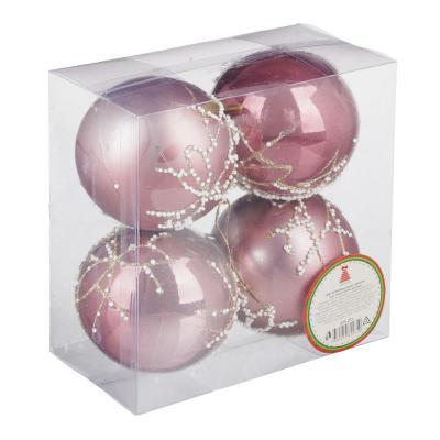 373-271 СНОУ БУМ Набор шаров с деколью, 4 шт, 8см, пластик, розовый