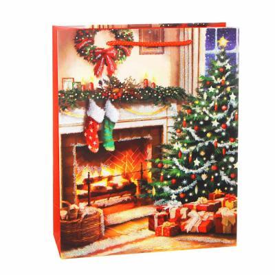 369-435 СНОУ БУМ Пакет подарочный, 26х32х10см, бумага высокого качества с глиттером, 8 дизайнов арт.2021-9
