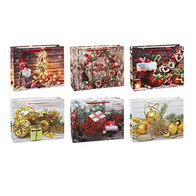 369-439 СНОУ БУМ Пакет подарочный, 32х26х10см, бумага высокого качества с глиттером, 6 дизайнов, арт.2021-13