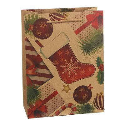 369-444 СНОУ БУМ Пакет подарочный бумажный, крафт с рисунком, 18х24х8,5см, 12 дизайнов, арт.2021-17