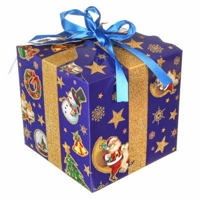 369-455 СНОУ БУМ Коробка подарочная, с глиттером, 17,5х17,5х17,5см, бумага, 3 дизайна, арт.2021-01
