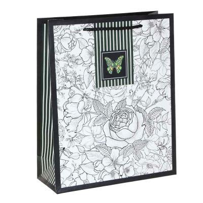 507-007 Пакет подарочный, высококачеств.бумага, глиттер, тиснение фольгой, 26х32х10см, 12 дизайнов, арт.1