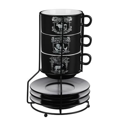 824-448 MILLIMI Ранчо Набор чайный 6 пр. на метал. подст, 16х16х24,5см, чаш. 260мл, блюд. 15см, керамика