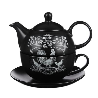 "824-450 MILLIMI Ранчо Набор чайный ""Эгоист"", чайник 380мл, чашка 320мл, блюдце 15см, керамика"