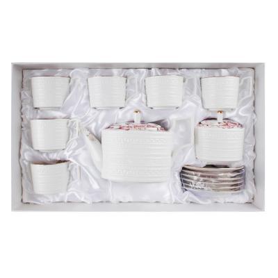 802-001 MILLIMI Роскошь Набор чайный 14 пр., чашка 290мл, чайник 1150мл, сахарница 380мл, кост. фрф