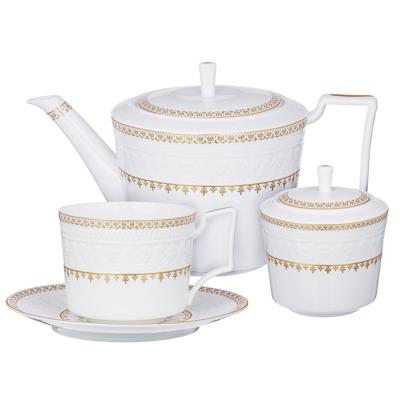 802-002 MILLIMI Наполеон Набор чайный 14 пр., чашка 300мл, чайник 1250мл, сахарница 350мл, кост. фрф