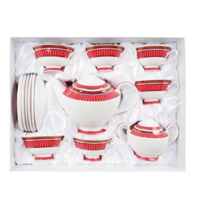 821-001 MILLIMI Красный Монфор Набор чайный 14пр, чашка 210 мл, чайник 1100 мл, сахарница 310 мл, кост. фрф