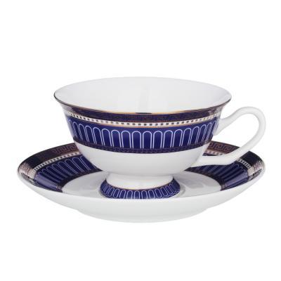 821-003 MILLIMI Синий Монфор Набор чайный 14пр, чашка 210 мл, чайник 1100 мл, сахарница 310 мл, кост. фрф