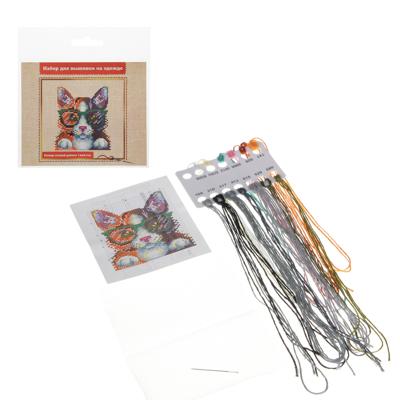 366-208 Набор вышивки на одежде, водорастворимая канва, нити, игла, 6-12 дизайнов