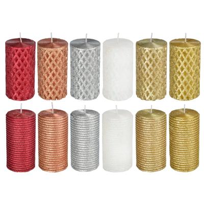 508-624 Свеча пеньковая, парафин, 5x9,5см, 12 дизайнов
