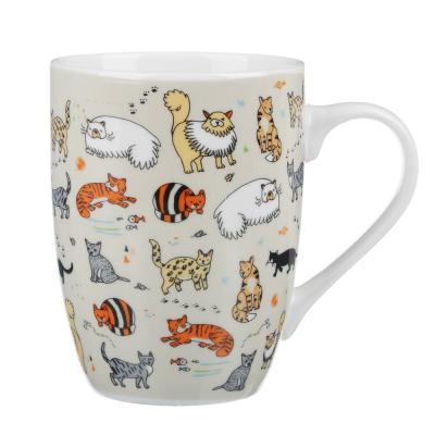 806-002 MILLIMI Веселые коты Кружка 340мл, керамика, 4 дизайн
