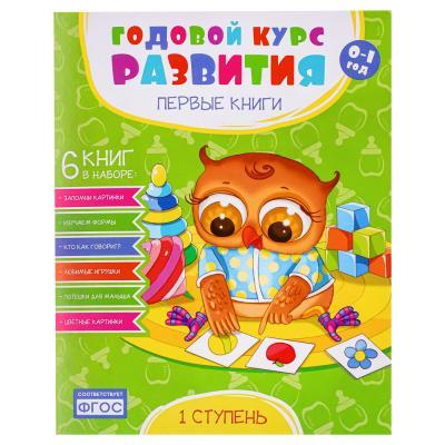 """857-134 Набор книг Годовой курс развития """"Первые книжки"""" 6 книг, бумага, картон, 14х21см, 3 дизайна"""