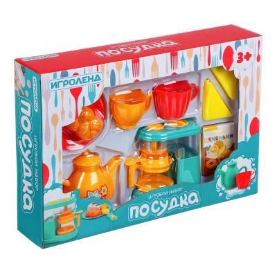 294-129 ИГРОЛЕНД Игровой набор Посудка, пластик, 9-11 пр., 35х24х7 см, 3 дизайна